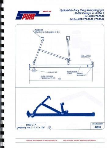 Stelaż L i P połączony rurą